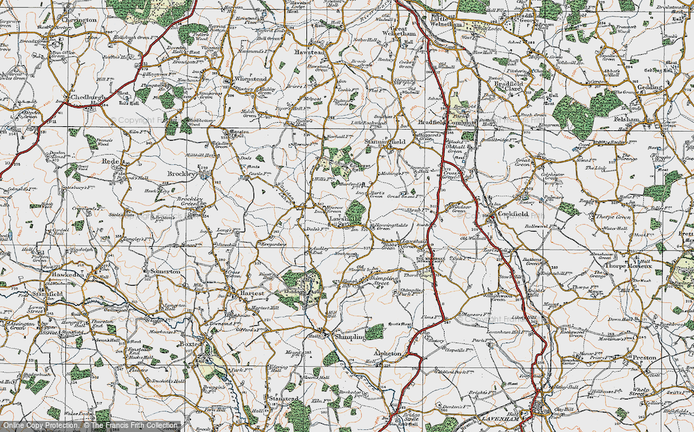 Old Map of Historic Map covering Barfords in 1921