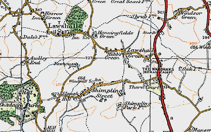 Old map of Lawshall Green in 1921