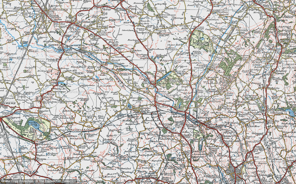 Old Map of Historic Map covering Lawton Heath in 1923