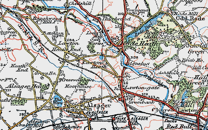 Old map of Lawton Heath in 1923
