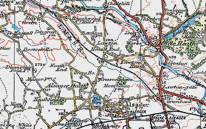Old map of Lawton Heath End in 1923