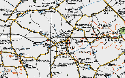 Old map of Laxfield in 1921