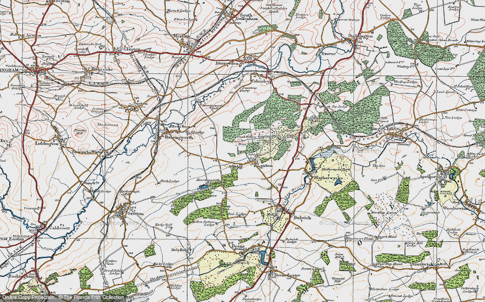 Old Map of Historic Map covering Adams Wood in 1922
