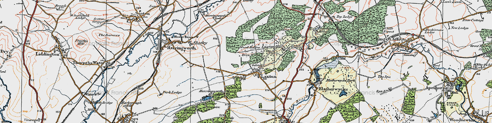 Old map of Laxton in 1922