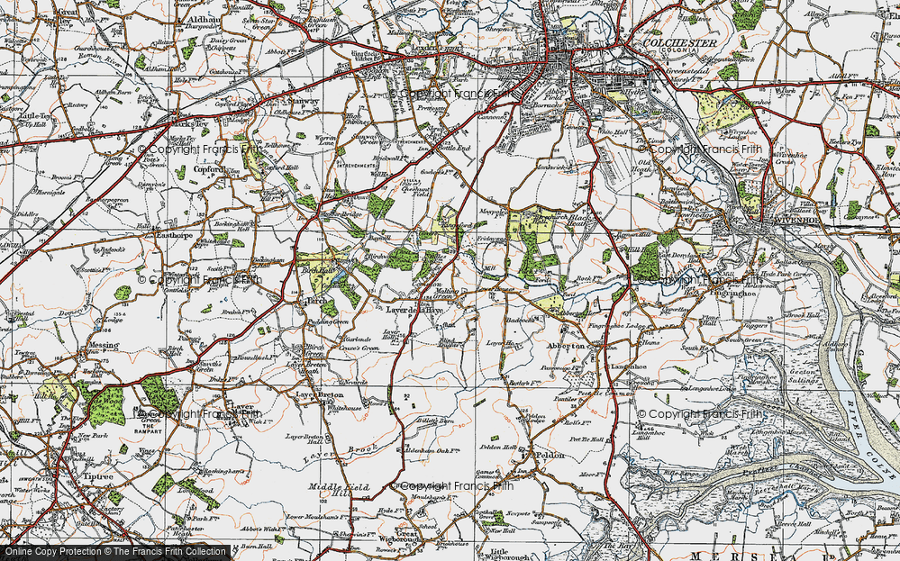 Old Map of Historic Map covering Abberton Reservoir in 1921