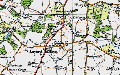 Old map of Abberton Reservoir in 1921