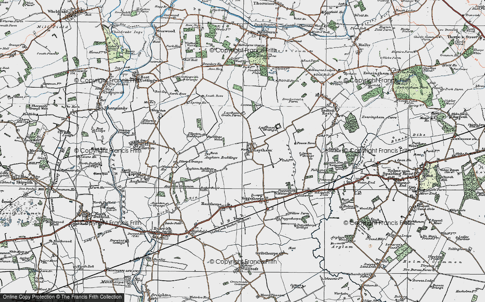 Old Map of Historic Map covering Aughton Ruddings in 1924