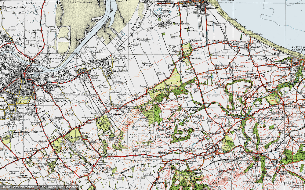 Old Map of Historic Map covering Lazenby Bank in 1925