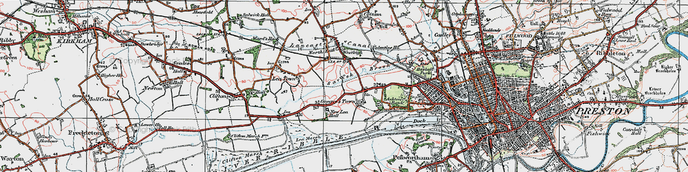 Old map of Lea in 1924