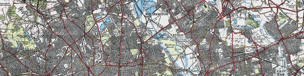 Old map of Lea Bridge in 1920