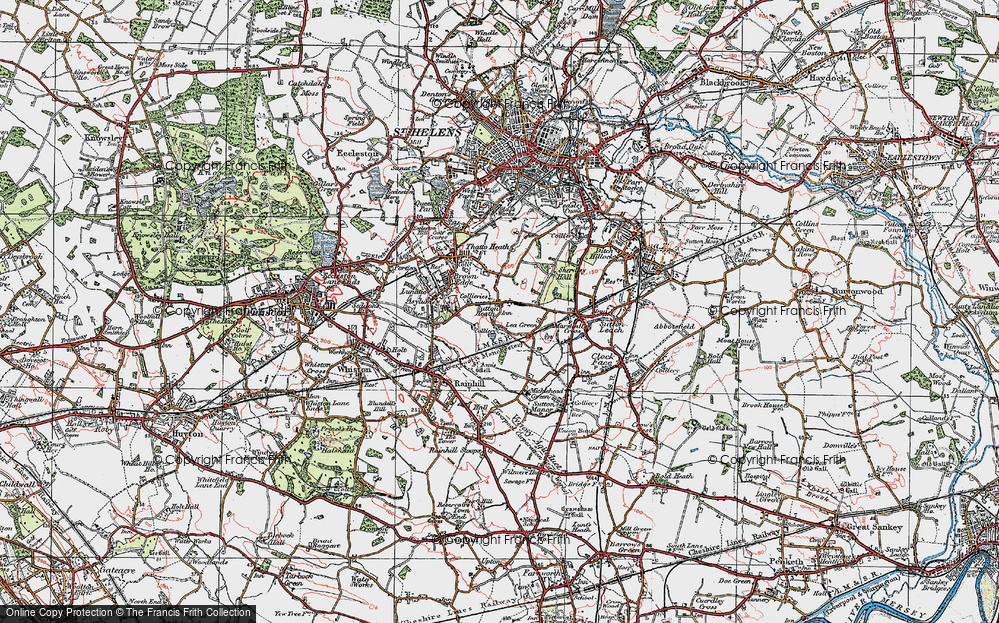 Old Map of Lea Green, 1923 in 1923