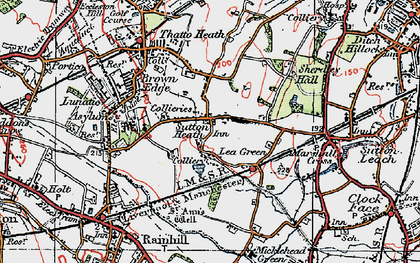 Old map of Lea Green in 1923