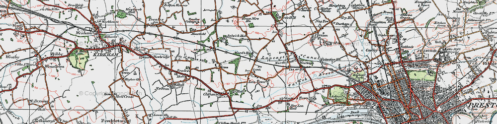 Old map of Lea Town in 1924