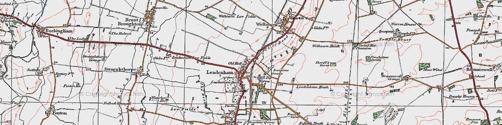 Old map of Leadenham in 1922