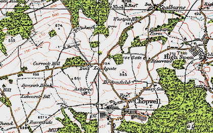 Old map of Leadgate in 1925