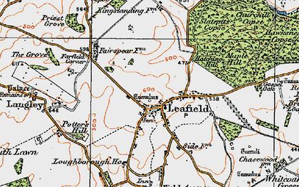 Old map of Leafield in 1919