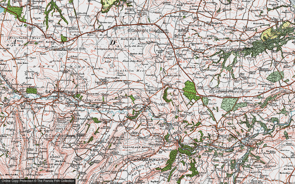 Old Map of Historic Map covering Lealholm Moor in 1925