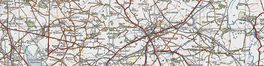 Old map of Abnalls, The in 1921