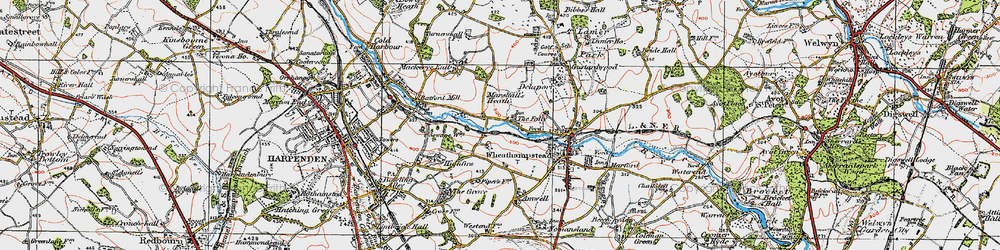 Old map of Leasey Bridge in 1920