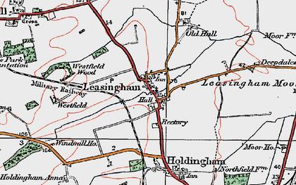 Old map of Leasingham Moor in 1922