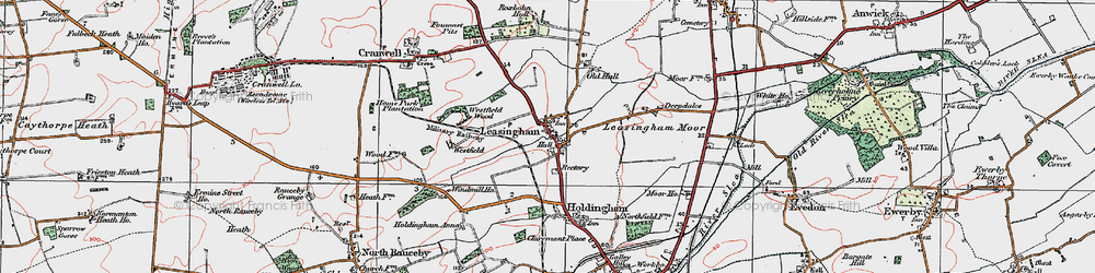 Old map of Leasingham in 1922