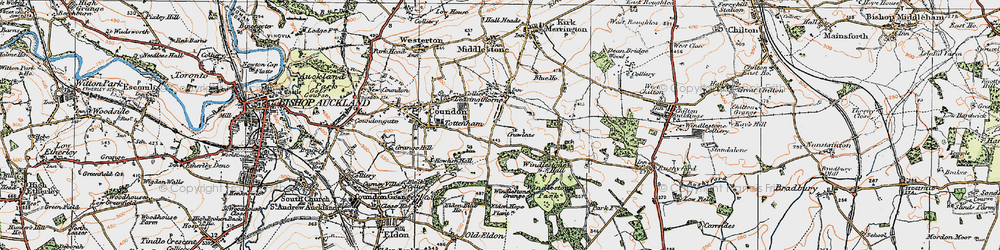 Old map of Leasingthorne in 1925