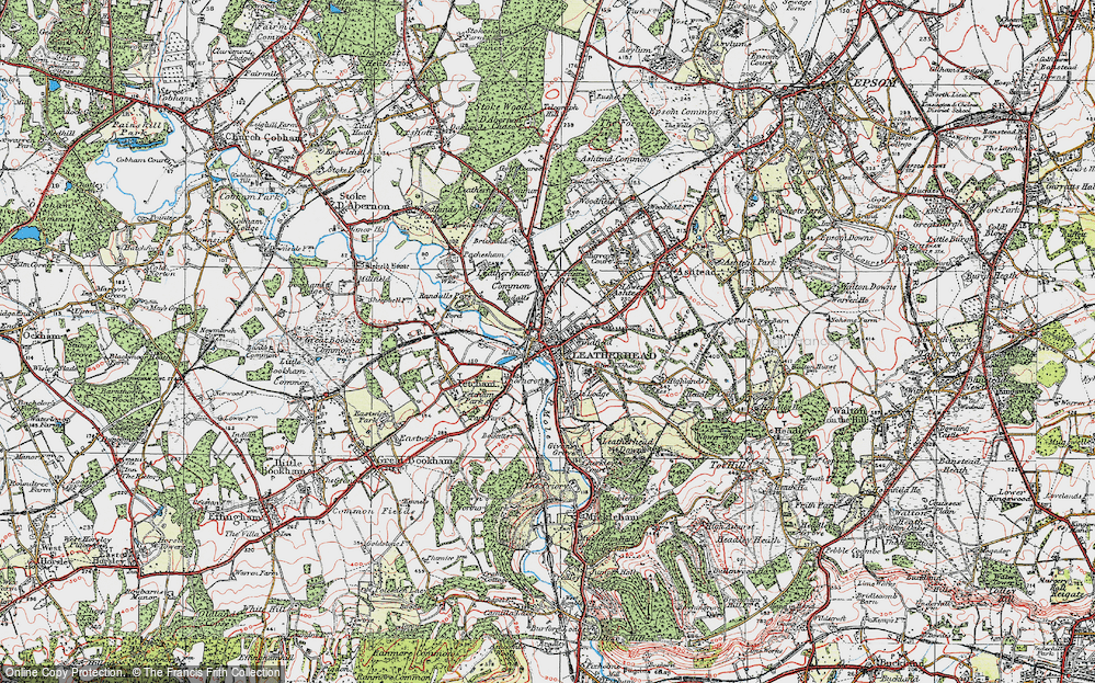 Old Map of Leatherhead, 1920 in 1920