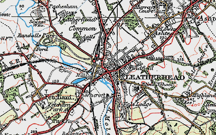 Old map of Leatherhead in 1920