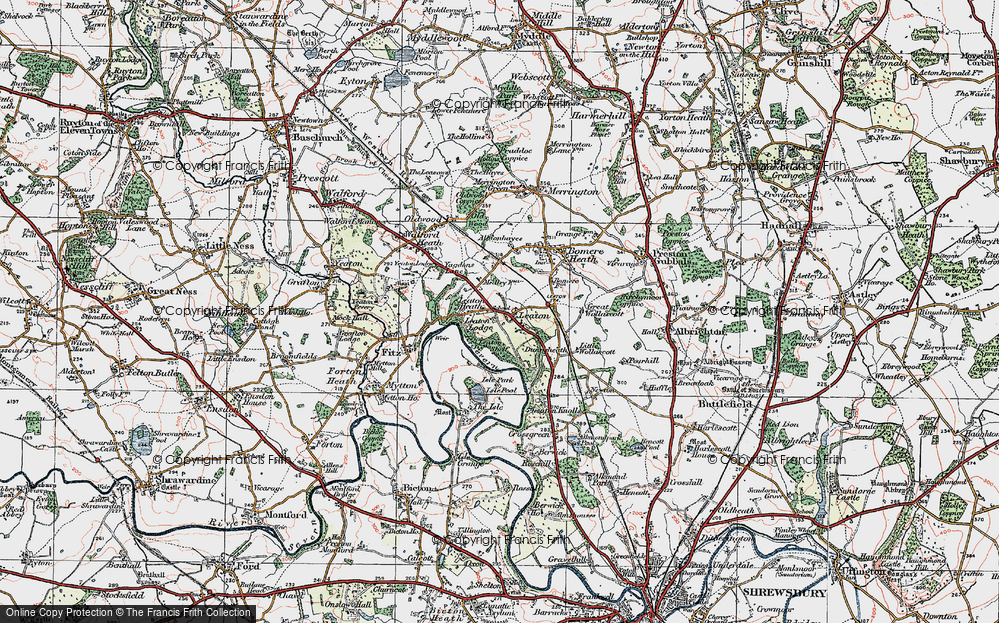Old Map of Historic Map covering Leaton Lodge in 1921