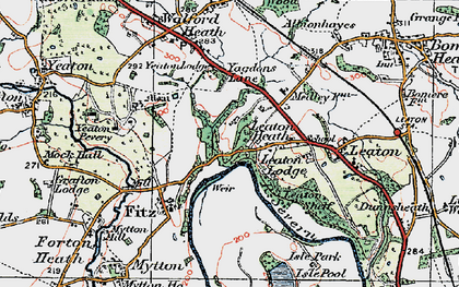 Old map of Leaton Heath in 1921