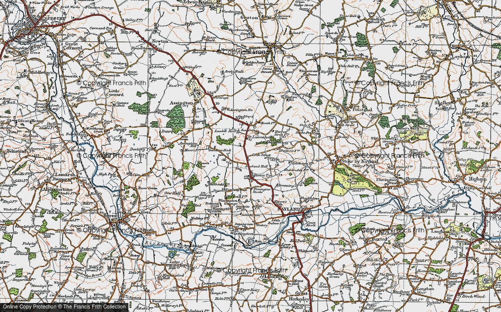 Old Map of Leavenheath, 1921 in 1921