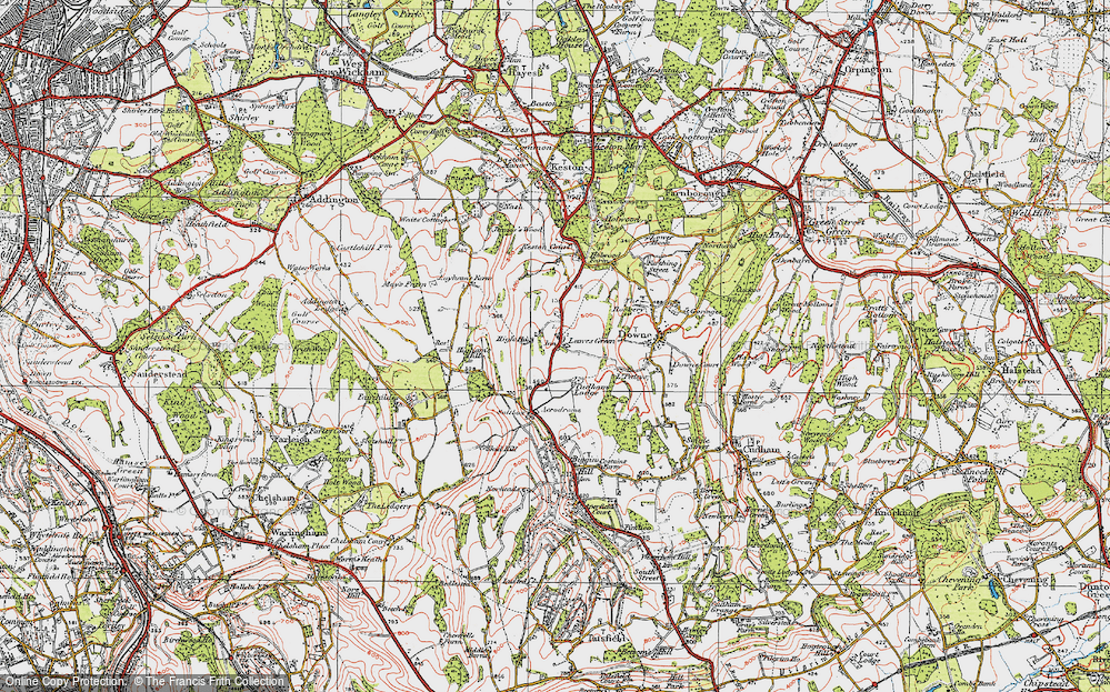 Old Map of Leaves Green, 1920 in 1920