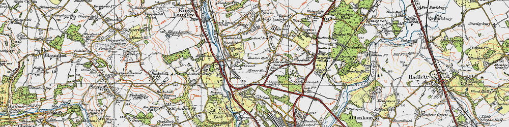 Old map of Leavesden Green in 1920