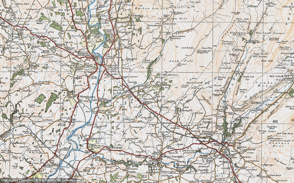 Old Map of Historic Map covering Leck Fell in 1925