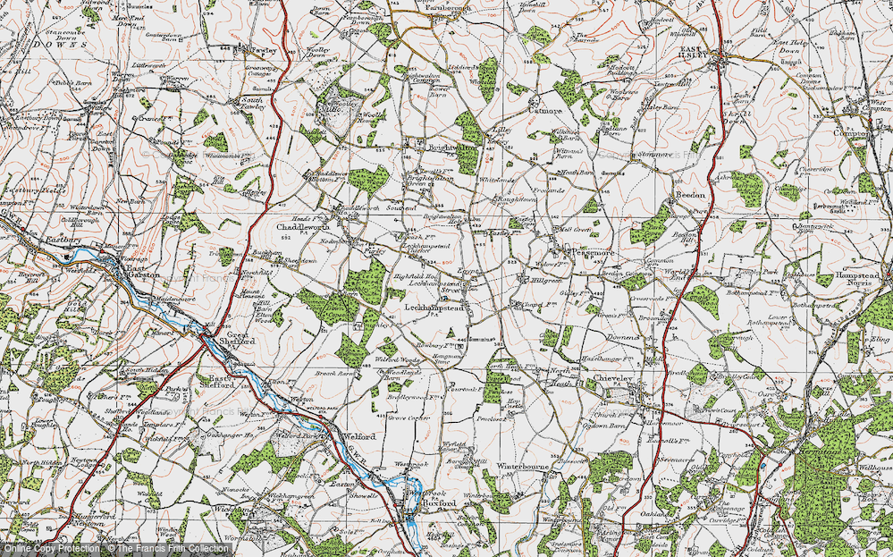 Old Map of Leckhampstead, 1919 in 1919