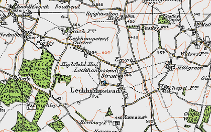 Old map of Leckhampstead in 1919