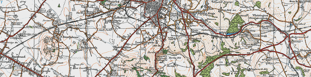 Old map of Leckhampton Hill in 1919