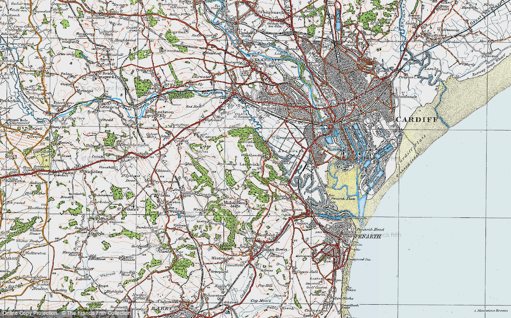Old Map of Historic Map covering Woodlands in 1919