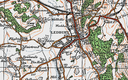 Old map of Ledbury in 1920
