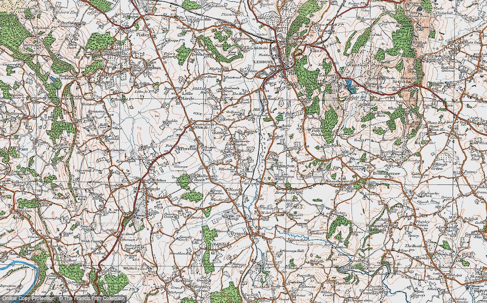 Old Map of Leddington, 1920 in 1920