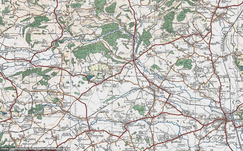 Old Map of Ledicot, 1920 in 1920