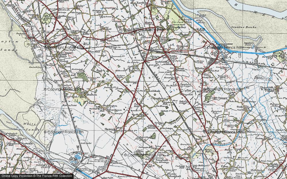 Old Map of Ledsham, 1924 in 1924