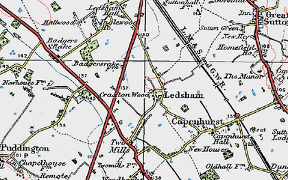 Old map of Ledsham in 1924