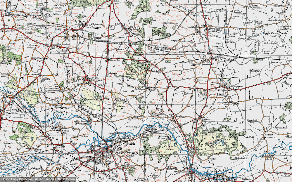 Old Map of Historic Map covering Ledston Park in 1925