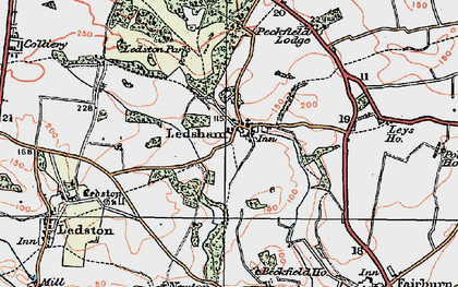 Old map of Ledsham in 1925