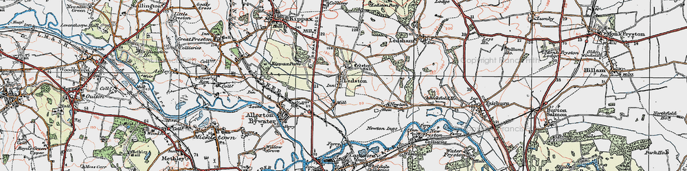 Old map of Ledston in 1925