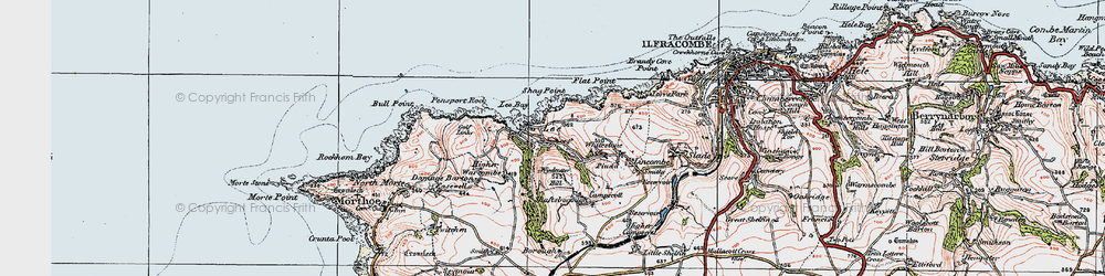 Old map of Windcutter Hill in 1919