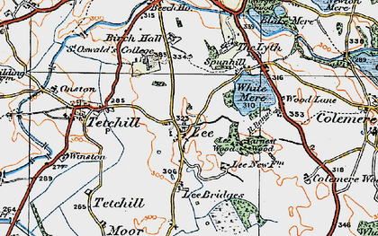 Old map of Lee Bridges in 1921