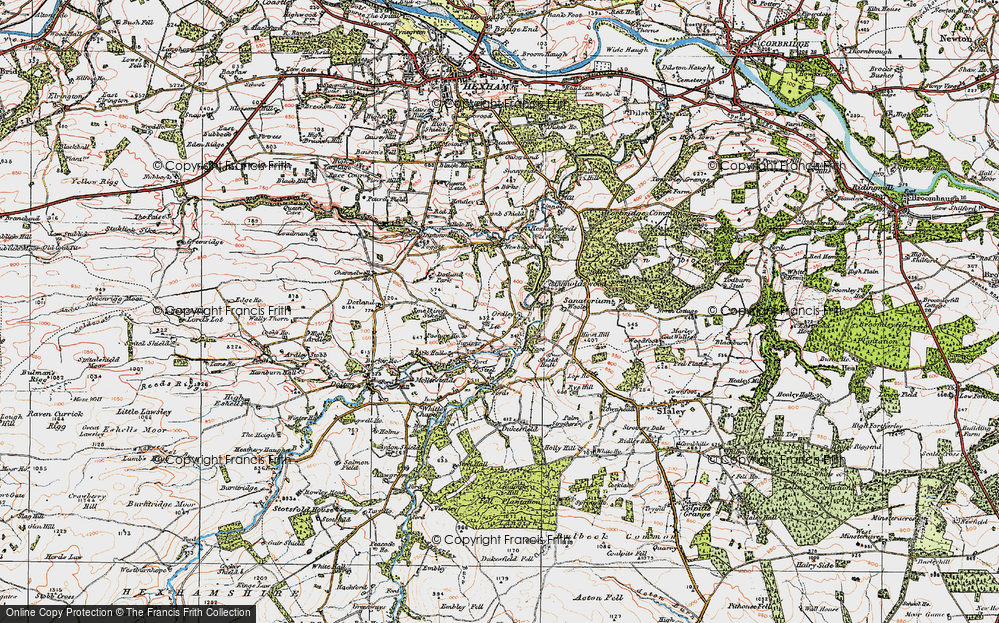 Old Map of Historic Map covering Linnel Hill in 1925