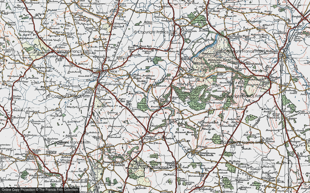 Old Map of Lee Brockhurst, 1921 in 1921